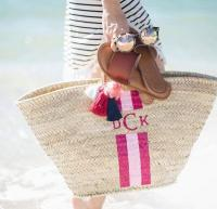 Monogrammed Straw Tote