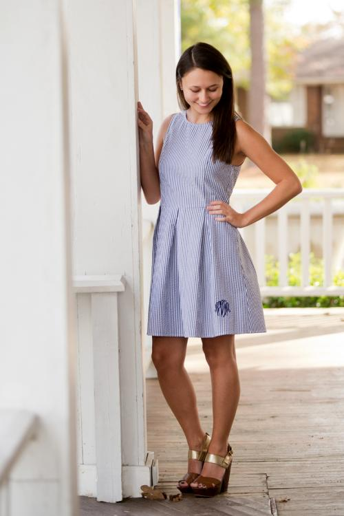 Monogrammed Navy Seersucker Ladies Classic A-Line Dress  Apparel & Accessories > Clothing > Dresses > Day Dresses